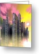 3d Digital Art Greeting Cards - Glass City Greeting Card by Sandra Bauser Digital Art