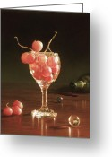 Cocktails Pastels Greeting Cards - Glass Grapes and Marbles Greeting Card by Barbara Groff