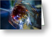 Reds Greeting Cards - Glass in Motion Greeting Card by Marion McCristall