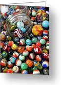 Spheres Greeting Cards - Glass jar and marbles Greeting Card by Garry Gay