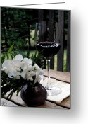 Designers Choice Digital Art Greeting Cards - Glass of Wine Greeting Card by Don  Wright