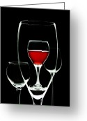 Vino Greeting Cards - Glass of Wine in Glass Greeting Card by Tom Mc Nemar