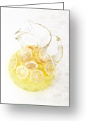 Summertime Drink Greeting Cards - Glass Pitcher of Lemonade Greeting Card by Andee Photography