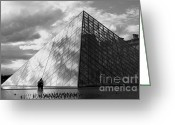 Visitor Greeting Cards - Glass pyramid. Louvre. Paris.  Greeting Card by Bernard Jaubert