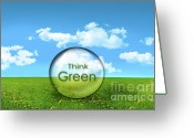 Responsibility Greeting Cards - Glass sphere in a field of tall grass Greeting Card by Sandra Cunningham