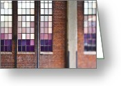 Window Panes Greeting Cards - Glass Window Panes on Brick Building Greeting Card by Eddy Joaquim