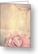 Flowers Pictures Greeting Cards - Glass with flower Greeting Card by Kristin Kreet