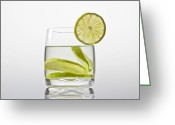 Transparent Green Greeting Cards - Glass With Lemonade Greeting Card by Joana Kruse