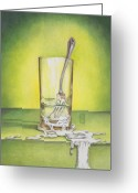 Featured Drawings Greeting Cards - Glass with Melting Fork Greeting Card by Melissa A Benson