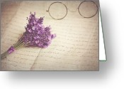 Old Glasses Greeting Cards - Glasses And Posy Of Lavender On Peaper Greeting Card by Doug Chinnery