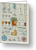 Jugs Greeting Cards - Glassware, Historical Artwork Greeting Card by Mid-manhattan Picture Collectionglassnew York Public Library