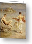 Youths Greeting Cards - Gleaming Waters Greeting Card by Henry Scott Tuke