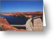 Concrete Greeting Cards - Glen Canyon Dam at Lake Powell by Page Arizona Greeting Card by Susanne Van Hulst