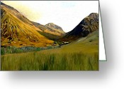 Impressionist Digital Art Greeting Cards - Glen Coe Greeting Card by James Shepherd