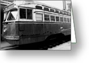 Usa Pyrography Greeting Cards - Glen Echo Line Trolley - Glen Echo Park MD Greeting Card by Fareeha Khawaja