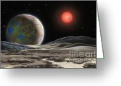 Airbrush Greeting Cards - Gliese 581 c Greeting Card by Lynette Cook