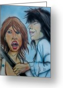 Rolling Stones Mixed Media Greeting Cards - Glimmer Twins II Greeting Card by Pete Maier