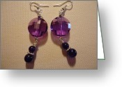Earrings Jewelry Greeting Cards - Glitter Me Purple Earrings Greeting Card by Jenna Green