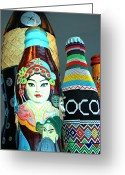 Face. Colorful Greeting Cards - Global Cola Greeting Card by William Dey