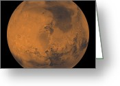 Gully Greeting Cards - Global Color View Of Mars Greeting Card by Stocktrek Images