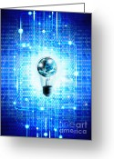 Future Tech Greeting Cards - Globe And Light Bulb With Technology Background Greeting Card by Setsiri Silapasuwanchai