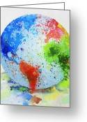 Fun Greeting Cards - Globe Painting Greeting Card by Setsiri Silapasuwanchai