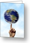 Our Planet Greeting Cards - Globe Spinning On A Finger Greeting Card by Cordelia Molloy