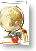World Tour Greeting Cards - Globe with toys animals on white Greeting Card by Sandra Cunningham