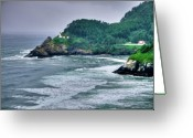 Warn Greeting Cards - Gloomy Heceta Lighthouse  Greeting Card by Connie Cooper-Edwards