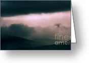 Black Cloud Greeting Cards - Gloomy Mountains. Scotland Greeting Card by Jenny Rainbow
