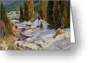 Pine Trees Painting Greeting Cards - Glorieta Stream Greeting Card by Thomas Wezwick