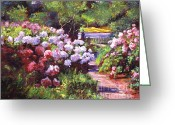 Garden Pathway Greeting Cards - Glorious Blooms Greeting Card by David Lloyd Glover