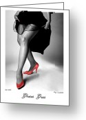 Nudes Greeting Cards - Glorious Gams - Red Shoes Greeting Card by Jerry Taliaferro
