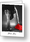 Nudes Greeting Cards - Glorious Gams - Seeing Red Greeting Card by Jerry Taliaferro