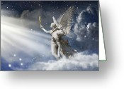 Angel Statue Greeting Cards - Glorious Greeting Card by Marc Huebner