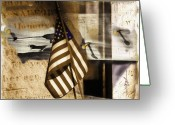 Stars And Stripes Mixed Media Greeting Cards - Glory Greeting Card by Bob Salo