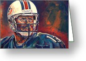 Football Painting Greeting Cards - Glory Days Greeting Card by Maria Arango