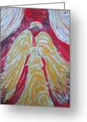 White Reliefs Greeting Cards - Glow Angel Greeting Card by Cecile Smit