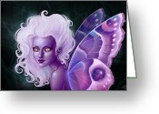 Violet Purple Greeting Cards - Glow in the Dark Greeting Card by Caroline Jamhour