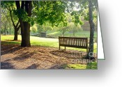 Empty Park Bench Greeting Cards - Glow of Tranquility Greeting Card by Kaye Menner