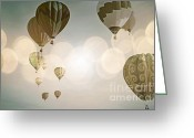 Birthday Cards  Greeting Cards - Glow Sky Balloons Greeting Card by Andrea Hazel Ihlefeld