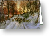 Winter Sun Greeting Cards - Glowed with Tints of Evening Hours Greeting Card by Joseph Farquharson