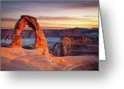 Twilight Photo Greeting Cards - Glowing Arch Greeting Card by Mark Brodkin Photography