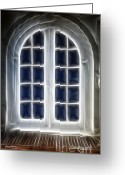 Window Panes Greeting Cards - Glowing Door Greeting Card by Cheryl Young