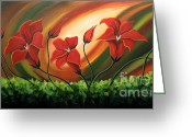Landscape Framed Prints Greeting Cards - Glowing Flowers 4 Greeting Card by Uma Devi