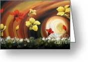 Landscape Framed Prints Greeting Cards - Glowing Flowers 6 Greeting Card by Uma Devi