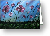 Landscape Framed Prints Greeting Cards - Glowing Flowers 7 Greeting Card by Uma Devi