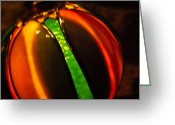 Orange And Green Greeting Cards - Glowing Globe Greeting Card by Christi Kraft