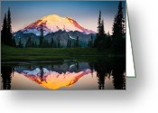 Cascades Greeting Cards - Glowing Peak Greeting Card by Inge Johnsson