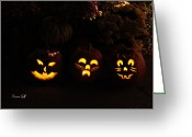 Batman Greeting Cards - Glowing Pumpkins Greeting Card by Suzanne Gaff